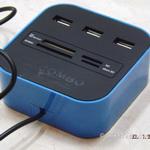 USB hub 2.0 + картридер SD/MMC/Micro SD(TF) синий