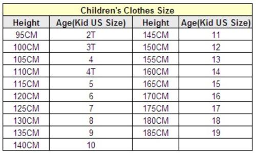 Китайская таблица размеров одежды для детей алиэкспресс
