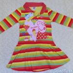 Яркое платье с принтом «свинка Пеппа», обзор. Качественная ткань, приятная на ощупь.